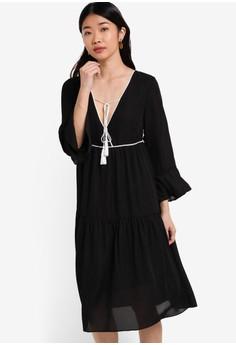 【ZALORA】 Collection 雪紡紗滾邊繫帶長袖及膝連身裙