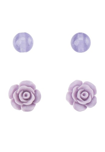 La Maison D'Evolette purple Rosalinda Earrings with Lavender Agate Gemstone EA279AC6EE0178GS_1