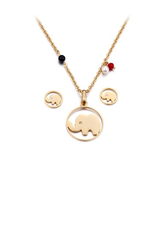 Glamorousky white Simple and Cute Plated Gold Elephant Geometric Round 316L Stainless Steel Necklace and Stud Earrings Set with Cubic Zirconia ADA9AACB0773D3GS_1