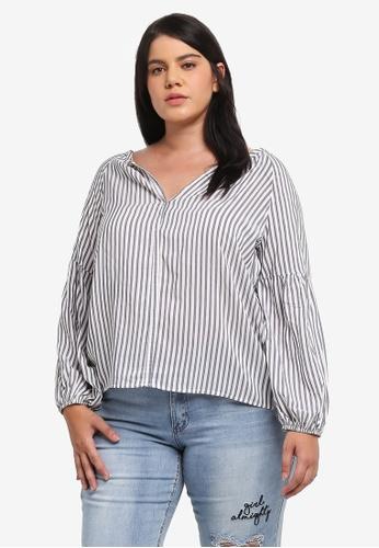 ELVI white and blue Plus Size Gathered Stripe Sleeve Blouse EL779AA0T1PWMY_1