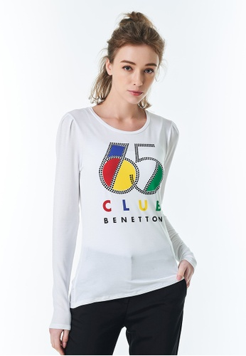 United Colors of Benetton white Printed T-shirt AFA5DAA679BBABGS_1
