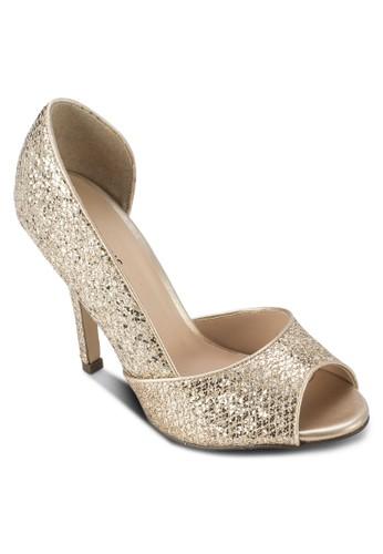 Grazalora退貨lini 金屬感露趾側空高跟鞋, 女鞋, 魚口鞋