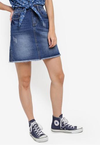 Something Borrowed blue High Waist A-Line Denim Skirt 69909AA4655645GS_1