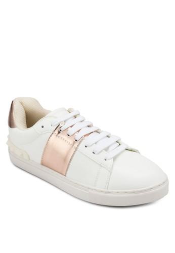 金屬拼接雙色繫帶休閒鞋, 女鞋, esprit outlet台北鞋