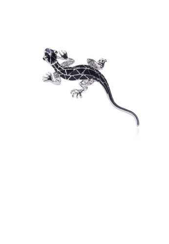 Glamorousky silver Simple Personality Gecko Brooch with Cubic Zirconia E03BFACC6D33ACGS_1