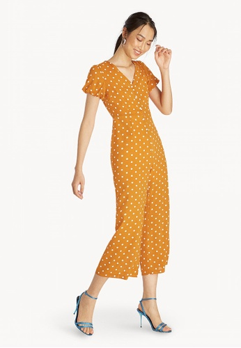 1fa270e111d Buy Pomelo Puff Sleeves Button Down Polka Jumpsuit - Orange Online ...