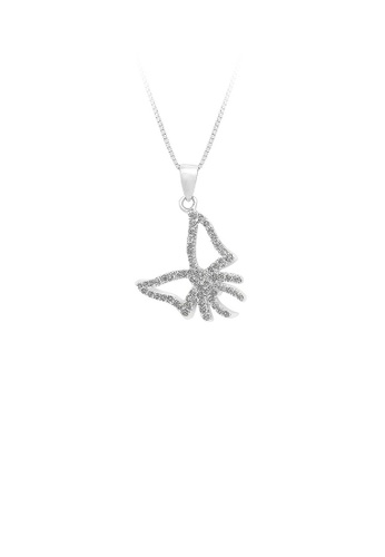 Glamorousky silver 925 Sterling Silver Bow Pendant with White Cubic Zircon and Necklace D859AAC4F036B2GS_1