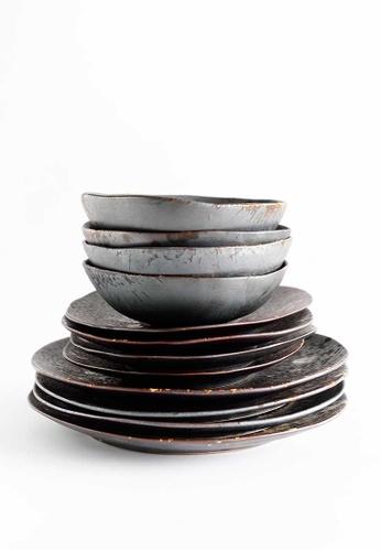 KRA Sanctuary grey Charcoal Grill Dinnerware Set of 4 B5317HL055A3F2GS_1