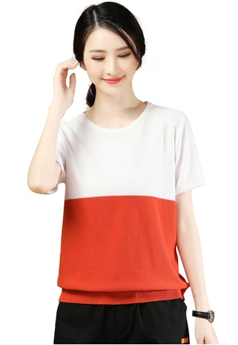 A-IN GIRLS white and orange Fashion Hit Color Short-Sleeved Sweater 3A01AAA1E3E13DGS_1