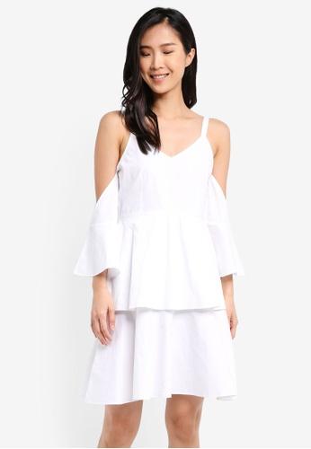 ZALORA white Cold Shoulder Cami Dress With Ruffles B5C21AA3FEF0DEGS_1