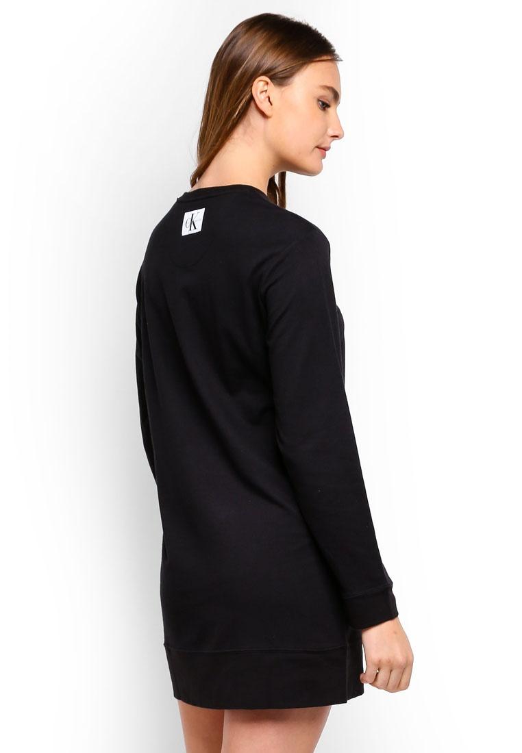 Calvin Black Klein Sleeve Night Underwear Calvin Long Shirt Klein Monogram qrzqO