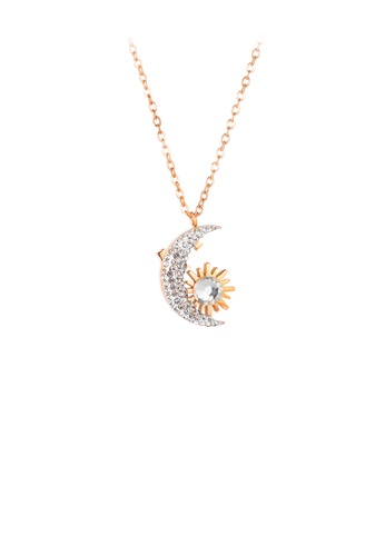 Glamorousky white Fashion Simple Plated Rose Gold Sun Moon 316L Stainless Steel Pendant with Cubic Zirconia and Necklace 319E4ACFF41469GS_1