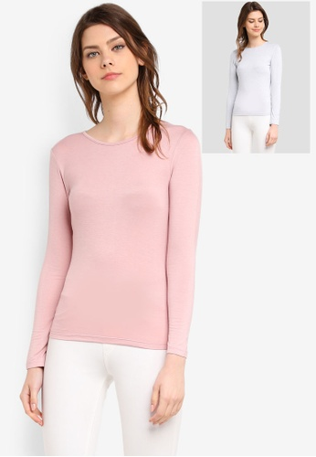 Zalia grey and pink 2 Pack Long Sleeve Basic Top 4BA06AA1C5167EGS_1