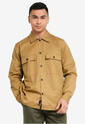 Only & Sons brown Noar Compact Twill Overshirt 23CF3AA34C52DCGS_1