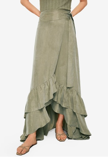 Mango beige Committed Collection Ruffled Soft Fabric Skirt 70374AA14FB780GS_1