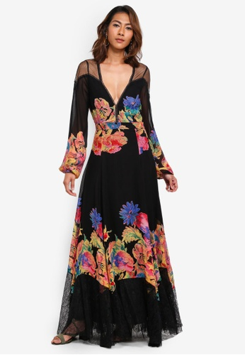 Free People black Printed Floral Maxi Dress 00F33AA5A0F4DFGS_1