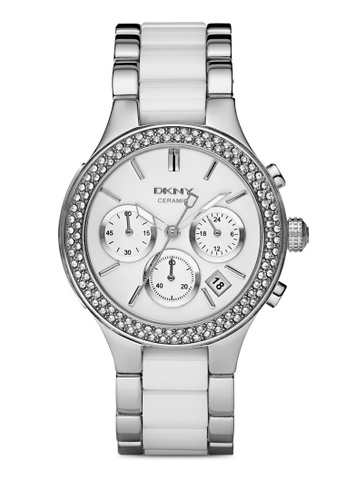DKNY white and silver DKNY Chambers Ceramic and Silver Mixed Watch NY8181 DK097AC58HQBMY_1