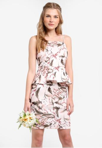 ZALORA pink and multi Bridesmaid Peplum Pencil Dress 8ED30AA97809F9GS_1
