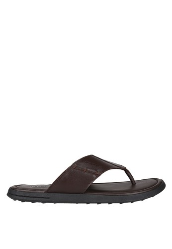 Hush Puppies Sandal Leather Pria Erran Thong Dark Brown