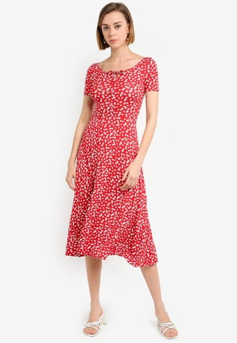 936043648cb5 Dorothy Perkins red Red White Floral Midi Dress 76989AA12BC675GS 1