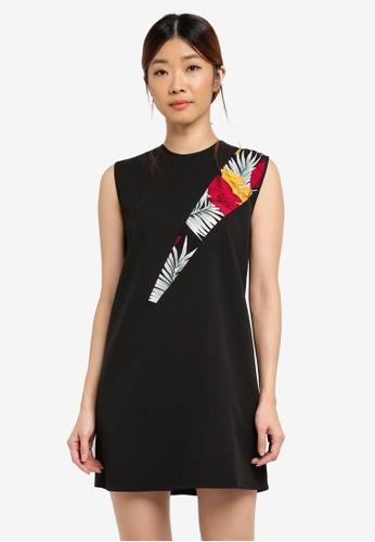 Something Borrowed black Printed Panel Sleeveless Shift Dress 09AA7AA4A2DC15GS_1