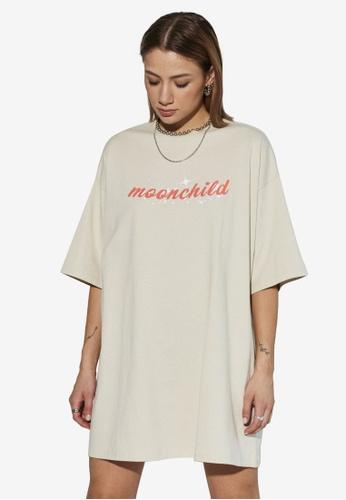 Local Heroes beige Moonchild T-Shirt Dress B2393AA7658B6AGS_1