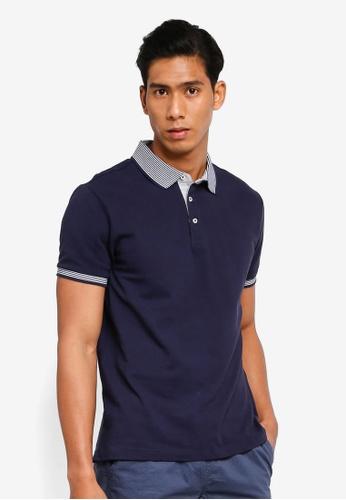 OVS 海軍藍色 條紋經典POLO衫 AD634AA688B255GS_1