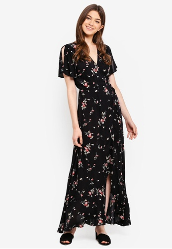 Something Borrowed black Printed Maxi Wrap Dress EA120AA4587CE9GS_1