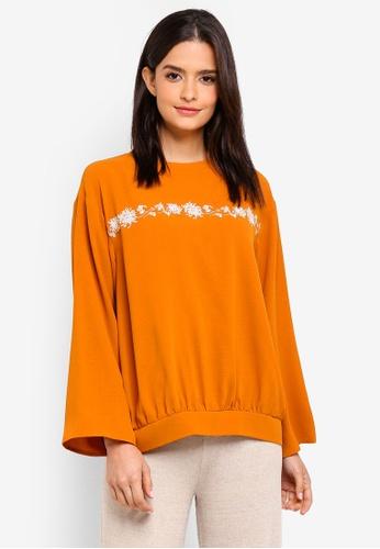 Zalia orange Embroidered Sweater Top B555EAA7D57B5EGS_1