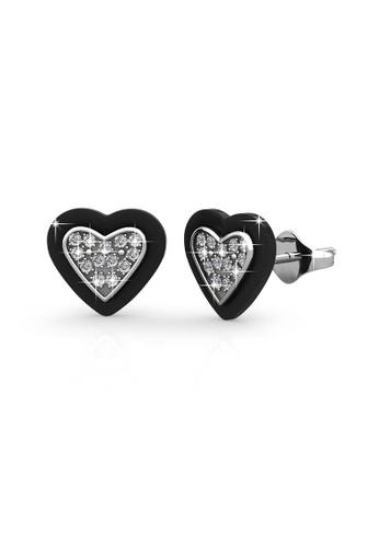 Her Jewellery black Heart Ceramic Earrings (Black) - Licensed Genuine Crystals from Swarovski® HE581AC0RDPWMY_1