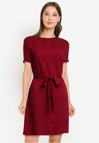 ZALORA WORK red Pleated Neck Dress with Self Tie A4BABAAAEEB177GS_1