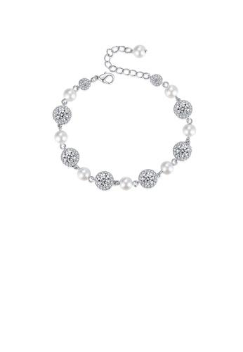 Glamorousky white Fashion and Elegant Geometric Round Imitation Pearl Bracelet with Cubic Zirconia 8981AAC30B698CGS_1