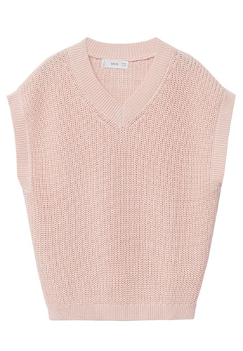 MANGO KIDS pink V-Neck Knitted Gilet 40524KA0780FD8GS_1