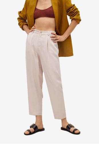 Mango beige 100% Lyocell Trousers 400ACAA95854A0GS_1