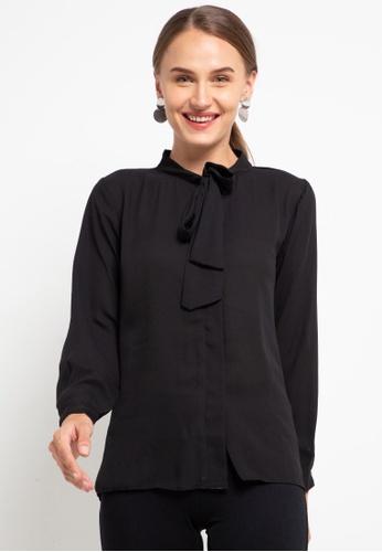 CHANIRA LA PAREZZA black Chanira La Parezza Sonya Full Sleeve Tie-knot Blouse EF873AAF03A1D2GS_1