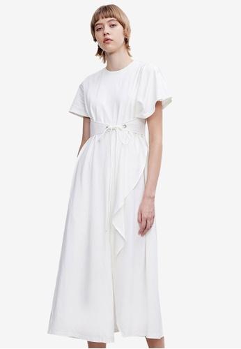 URBAN REVIVO white Ruffled Midi Dress 7EA45AA13F7E1EGS_1