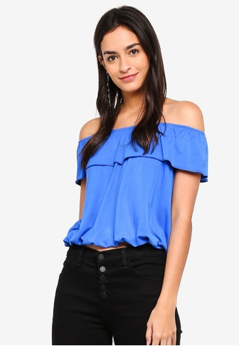 Vero Moda blue Louisa Off Shoulder Top E594FAA657F19CGS_1