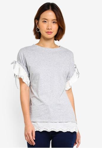 Dorothy Perkins grey Grey Broiderie Sleeve Tee 163D9AAA724FA0GS_1