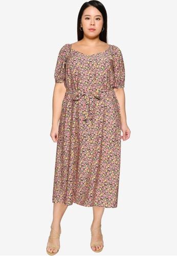 Vero Moda pink VMELLIE 2/4 7/8 DRESS WVN CURVE 575B0AA12DAF11GS_1