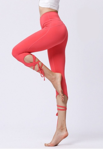 B-Code red ZYG3055-Lady Quick Drying Running Fitness Yoga Sports Leggings -Red 82728AA799D56BGS_1