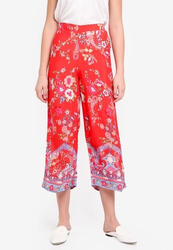 Miss Selfridge red Red Floral Print Trousers 76B2BAAE9155AEGS_1
