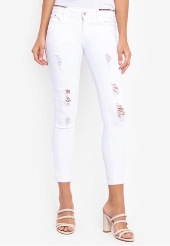 Balaynor white Fashionable Tattered Skinny Jeans   1AA10AACA61317GS_1
