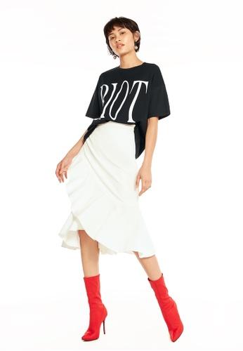 Pomelo white Lawan Ruffle Midi Skirt - White 8C78FAA08F0941GS_1
