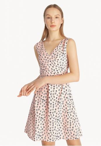 Pomelo pink Mini Heart Print Sleeveless Dress - Pink 0AC6AAA68BFB60GS_1