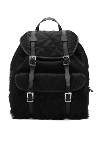 Prada black Prada Quilted Nylon Backpack with Real Rabbit Fur Silver Tone Hardware Nero 1BZ016 59614ACB99F51BGS_1