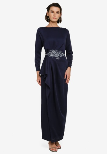 Zalia blue Side Drape Dress With Lace CD3F2AA573AC7AGS_1