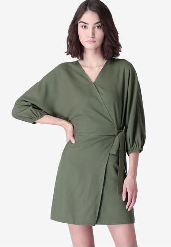 FabAlley green Side Tie Wrap Dress 5D55CAA53A8E73GS_1