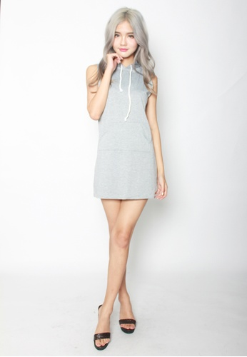 Seoul in Love grey Seung Min Dress with Hoodie SE496AA83UGMSG_1
