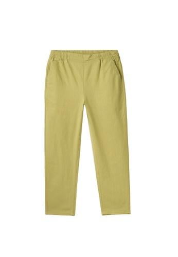Giordano brown Women's Linen Cotton Elastic Waistband Pants A6F44AA18F0095GS_1