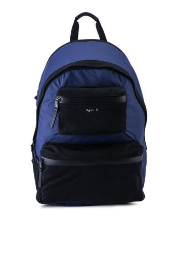 agnès b. blue Two-tone Backpack 8172EACFDADBC5GS_1